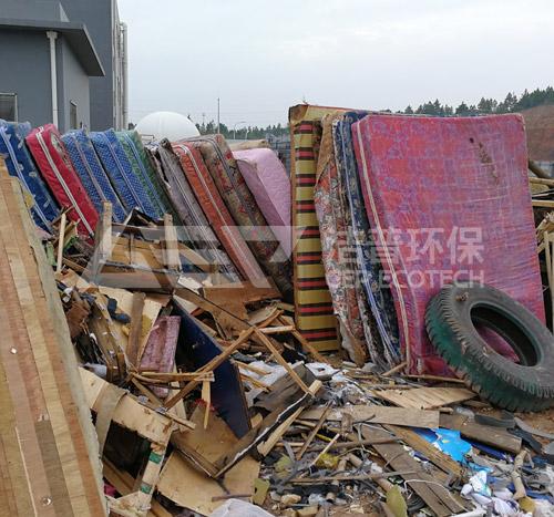 衡阳废旧沙发,家具破碎大件垃圾破碎机案例
