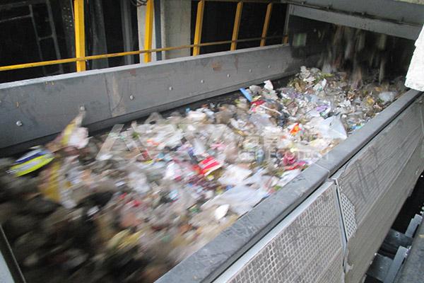 智能生活垃圾破碎机生产线,城市生活垃圾焚烧预处理系统现场